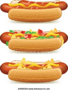 Drawings of Hotdog with cheese and tomato k9896584 - Search Clip Art Illustrations, Wall Posters, and EPS Vector Graphics Images - k9896584.eps