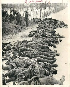 1943- Scene at the station of Zimovniki, in the North Caucasus, where Soviet troops found 46 bodies of Red Army men and commanders taken prisoner and tortured to death by the Germans.