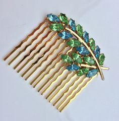 Vintage OOAK Pastel Blue Mint Green Rhinestone Bridal Hair Comb Elf Princess Wedding Gold Leaf Hairpiece Romantic Headpiece Blush Rustic by VintageForAges on Etsy