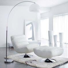 Witte verchroomd metalen en kunststof SPHÈRE staande lamp H 209 cm