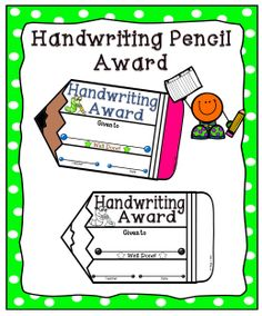 Reward your students' handwriting skills with this handwriting award.  Enclosed you will find one full page certificate in both color and black and white. #tpt#handwriting#certificate#teacherspayteachers