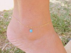 Ankle bracelet anklet turquoise by MoonliDesigns