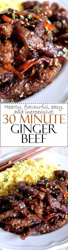 Tenderized cuts of beef, fried until crispy, and coated in a garlic and ginger sauce – 30 Minute Ginger Beef is an inexpensive dinner the whole family will love! 30 Minute Ginger Beef – I could eat this every day… Beef Recipes For Dinner, Meat Recipes, Asian Recipes, Cooking Recipes, Sirloin Recipes, Beef Sirloin, Beef Welington, Kabob Recipes, Fondue Recipes