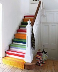 stair runner made from scraps of ikea carpet Stairs And Hallway Ideas, Modern Hallway, Basement Stairs, Loft Stairs, Staircase Ideas, Staircase Design, Steep Staircase, Painted Staircases, Painted Stairs