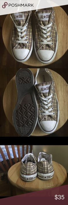 Converse All Stars Shoes Plaid Fabric Sneakers. Men Size 7. Women Size 9. Unisex. Great Condition Converse Shoes Sneakers