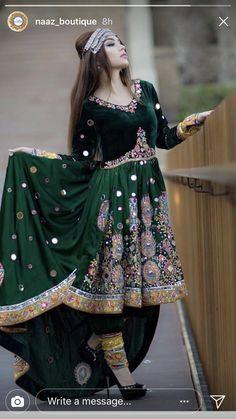 Love this Afghan dress! Desi Wedding Dresses, Event Dresses, Bridal Dresses, Girls Dresses, Ethnic Fashion, Indian Fashion, Stylish Dresses, Fashion Dresses, Stunning Dresses