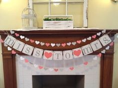 Bridal Shower Decoration Bridal Shower Banner Miss To Mrs. Banner Paper Heart Garland Coral and Grey Bachelorette Party or CUSTOM colors -