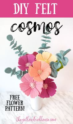 DIY Felt cosmos tutorial with free pattern download. Learn how to make this beautiful felt flower to add to a bouquet, wreath, garland or use as decor. Easy step-by-step instructions to make DIY felt flowers. Felt Crafts Diy, Felt Diy, Homemade Crafts, Vinyl Crafts, Easy Diy Crafts, Diy Crafts To Sell, Crafts For Kids, Cosmos Flowers, Felt Flowers