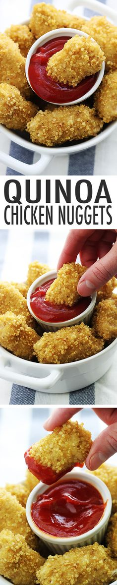 "healthy, Quinoa Chicken Nuggets - These nuggets are a kid friendly food! You'll love the ""breading""!:Easy, healthy, Quinoa Chicken Nuggets - These nuggets are a kid friendly food! You'll love the ""breading""! Think Food, I Love Food, Good Food, Yummy Food, Tasty, Healthy Cooking, Healthy Snacks, Healthy Recipes, Breakfast Healthy"