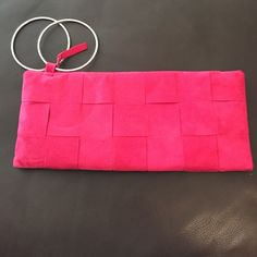 One of a Kind - Pink suede wristlet One of a Kind - Pink suede wristlet. Custom created by Carmelita Starr. Excellent condition! Bags Clutches & Wristlets