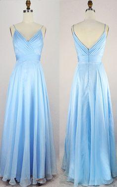 Light Blue A Line V Neck Chiffon Floor Length Open Back Long Prom Dress