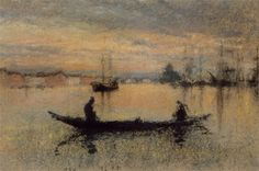James McNeil Whistler, The Guidecca, Note in Flesh Tones, chalk and pastel on gray paper, Mead Art Museum