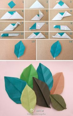 Origami leaves for use in an autumn display
