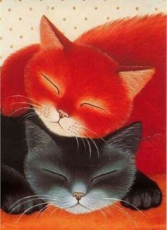 red and black cats