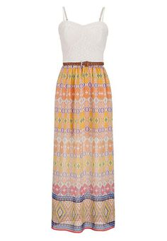 ethnic print chiffon maxi dress with lace top (original price, $44) available at #Maurices