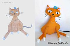 Custom softie from children drawing by MeninaInclinada on Etsy, €30.00