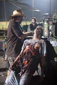 K N B Effects Group. Greg Nicotero working on a season 2 episode 3 zombie from the walking dead