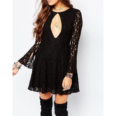 Free People Lace Teen Witch Dress in Black (169 AUD) ❤ liked on Polyvore featuring dresses, cut out skater dress, fit and flare dress, fit & flare dress, black bell sleeve dress and black cutout dress