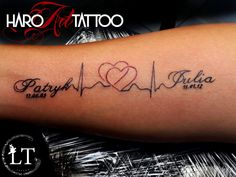 Tattoo by LT from Haro Art Tattoo in Kleve. Kids Names and Heartbeats tattoo. - Tattoo by LT from Haro Art Tattoo in Kleve. Kids Names and Heartbeats tattoo. Daughters Name Tattoo, Name Tattoos For Moms, Baby Name Tattoos, Tattoos With Kids Names, Tattoo For Son, Kid Names, Baby Feet Tattoos, Daddy Tattoos, Design Tattoos