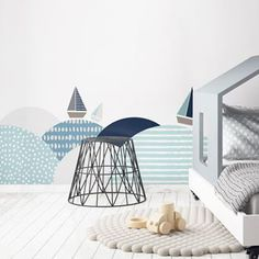 Samolepka na zeď Southern sea 60 x 175 cm - Babyliving Newborn Room, Baby Room, White Furniture, Kids Furniture, Contemporary Bedroom, Contemporary Design, Swan Wallpaper, Teepee Bed, Bed Wall