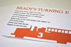 stationery. firetruck birthday invitation.