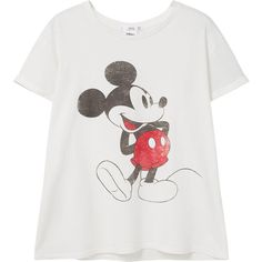 Image Cotton T-Shirt ($23) ❤ liked on Polyvore featuring tops, t-shirts, short sleeve tops, round top, pattern tops, cotton tee and mickey mouse tops