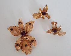 Signed Bugbee and Niles Vintage Rhinestone Brooch/Pin & Earrings - B. N. Vintage Jewelry - B. N. Vintage Jewelry Set-Vintage Costume Jewelry - Edit Listing - Etsy