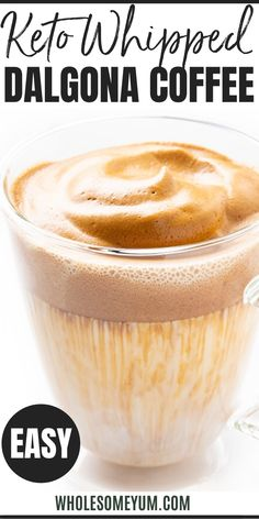 Keto Whipped Dalgona Coffee Recipe (TikTok Coffee) - The BEST keto whipped dalgona coffee recipe, with just 4 ingredients! Whether you call it whipped coffee or TikTok coffee, you'll love this (sugar-free) sweet and creamy drink. Low Carb Recipes, Real Food Recipes, Dessert Recipes, Cooking Recipes, Desserts, Healthy Recipes, Chicken Recipes, Low Carb Drinks, Usda Food