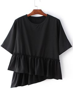 751abda7038 Black Round Neck Ruffle Hem Short Sleeve Blouse Collar Blouse