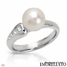 Morellato Womens Cultured Freshwater Pearl and Crystal Ring Size 5 5 Retail $109 | eBay