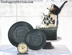 "Skull and Vine: Tower of Cake ~ This incredible Skull and Vine design by Homer Laughlin Fiesta Dinnerware is stunning and I wanted to create a cake that reflected the level of detail and care.  ""Go big or stay home"" … so I went big! 