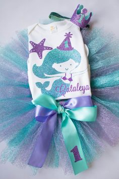 First Birthday Mermaid Birthday Outfit  by AdelineRoseBoutique