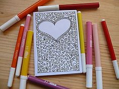 little booklet with coloring page on the cover HEART