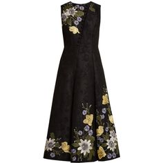 Erdem Yasmine floral-embroidered cotton-blend gown (13240 QAR) via Polyvore featuring dresses, gowns, black multi and erdem