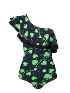 Enterizo un hombro enredadera de #Verdelimon disponible en www.styleto.co
