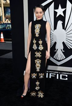 "Rinko Kikuchi arrives at the premiere of Warner Bros. Pictures' and Legendary Pictures' ""Pacific Rim"" at Dolby Theatre on July 9, 2013 in Hollywood, California."