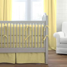 Solid Banana Crib Bedding collection by Carousel Designs. Baby Bedding in Solid Yellow Fabric. Baby Boy Crib Bedding, Baby Boy Cribs, Crib Bedding Sets, Yellow Nursery, Baby Yellow, Grey Crib, Carousel Designs, Types Of Beds, Crib Sets