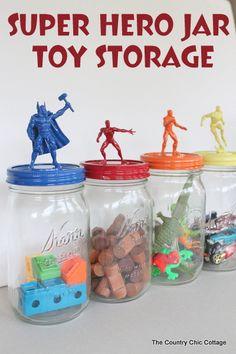 super hero jar toy storage tutorial