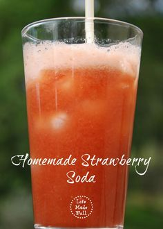 Healthy Homemade Strawberry Soda for Kids ~ Using Maple Syrup or Honey, Coconut Sugar, Strawberries, Lemon Juice and Sparkling Water