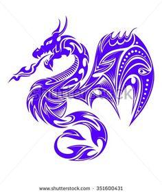 Indigo tribal dragon tattoo vector illustration