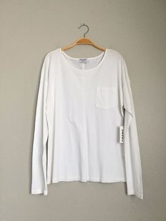 FRAME DENIM New Boat Neck Pocket Long Sleeve Tee Shirt Pullover Sweater White M…