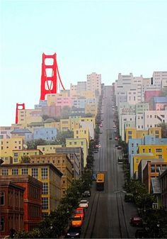 One of the worlds best skateboard runs. San Francisco Travel, San Francisco California, San Francisco Street, Places To Travel, Places To Visit, Ville New York, California Travel, Golden Gate Bridge, Travel Usa