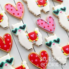 created this amazing cookies using our llama with glasses and Our heart cutter. Fancy Cookies, Valentine Cookies, Iced Cookies, Cute Cookies, Royal Icing Cookies, Cookies Et Biscuits, Cupcake Cookies, Sugar Cookies, Valentines