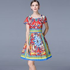 New Ball Gown Dress Spring Summer Fashion Women Designer Runway Casual Print Mini Pleated Dress Vestido High Quality - Multi, L What a beautiful image Visit us