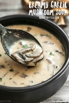 Garlic Mushroom Soup - This rich and Creamy Garlic Mushroom Soup is perfect for fall with it's deep earthy flavors. Serv -Creamy Garlic Mushroom Soup - This rich and Creamy Garlic Mushroom Soup is perfect for fall with it's deep earthy flavors. Mushroom Soup Recipes, Healthy Soup Recipes, Vegetarian Recipes, Vegetarian Soup, Easy Recipes, Dinner Recipes, Healthy Food, Simple Soup Recipes, Baby Bella Mushroom Recipes