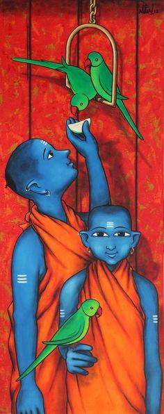 Modern Indian Art, Indian Folk Art, Indian Artist, Buddha Painting, Krishna Painting, Krishna Art, Buddha Art, Parrot Painting, Mural Painting