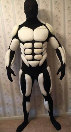 Upper body foam muscles only on a full body morph suit.
