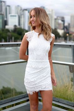 White Lace High Neckline Dress with Double Overlay Skirt<br/><div class='zoom-vendor-name'>By <a href=http://www.ustrendy.com/Xenia>Xenia</a></div>
