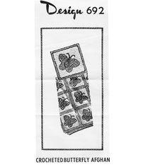 Crochet Afghan Pattern, Mail Order Design 692.  Fun Butterfly Blocks.