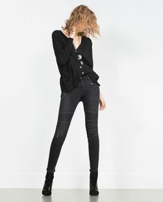 Image 1 of BIKER TROUSERS MID-RISE from Zara